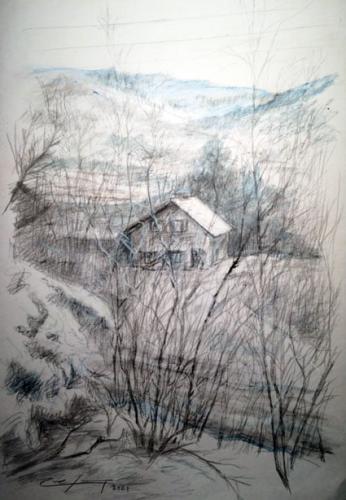 1La maison de Marjo dessin crayon et pastel gras 40x30 ( env )