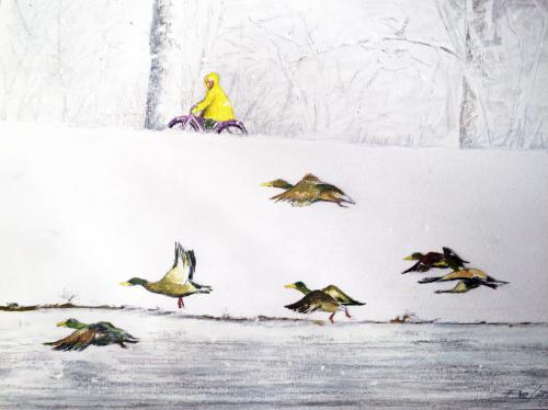 1PETIT CYCLISTE JAUNE AVEC CANARDS Huile pastel oil crayon – sur carton toilé 40x 32