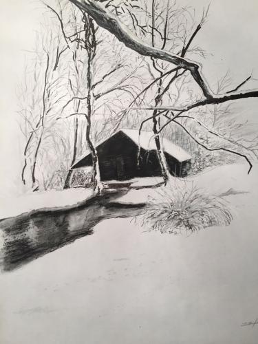 CABANE DANS LA NEIGE dessin sur papier - pastel, crayon, feutre, etc 37 x 29