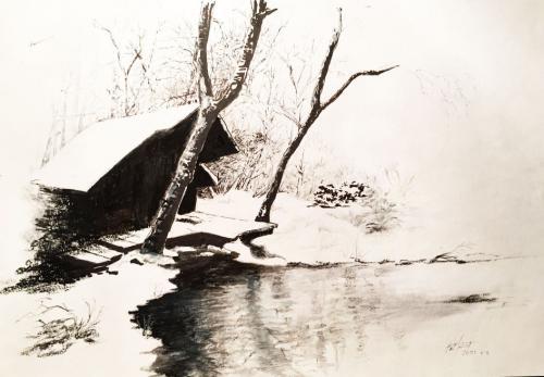 CABANE EN HIVER - 4 lavis de pastel oil - crayon - stylo marqueur 29 x 35