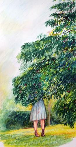 CUEILLEUSE DE CERISES (pastel-oil sur papier - 18 x 33 )