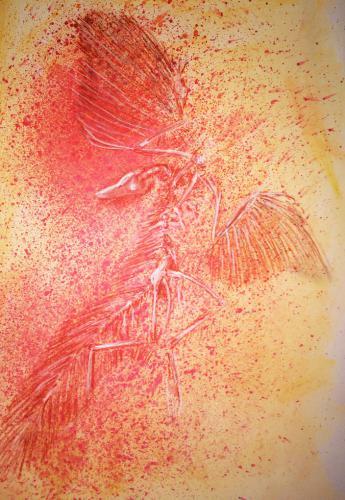 DINOSAURE-OISEAU pastel craie 39x50