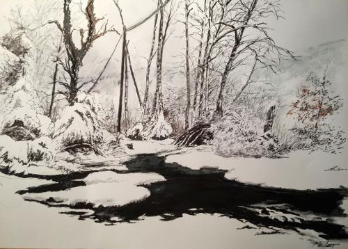 FLAQUE dessin pastel oil, café, aquarelle, crayon ( 45X34 )