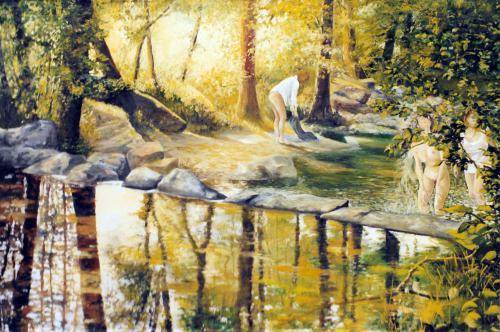 Baigneuses dans la rivière