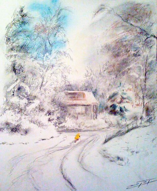 Cycliste jaune dans la neige à la maison