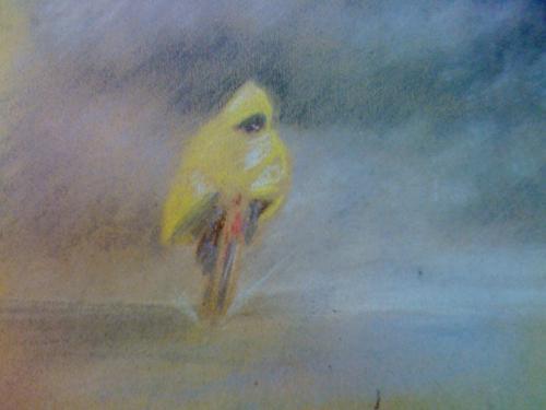 cycliste jaune - pastel sur papier kraft